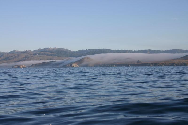 Panorama - The fog rolls in over the coastline North of Bodega Bay, California in the early morning, November 2006...Bob Fisher photo -SportfishWorld &copy Copyright 2003 All rights reserved