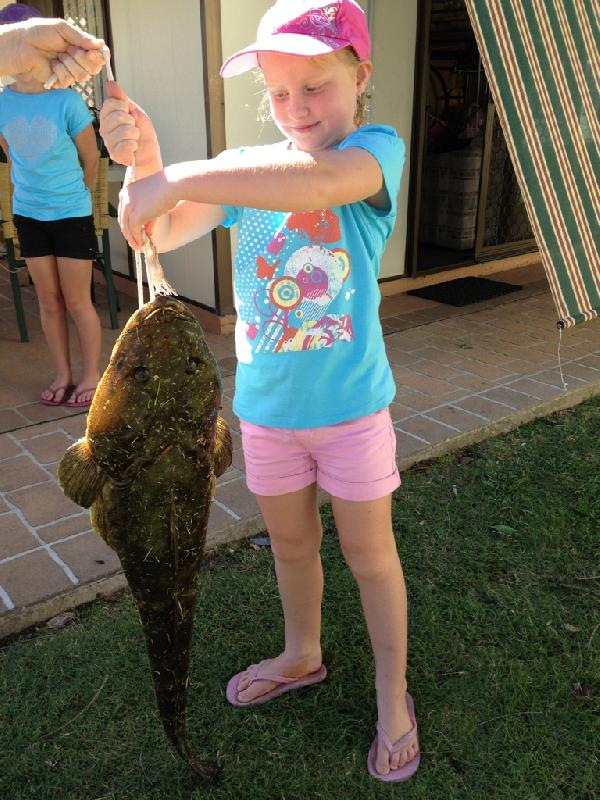 Flathead - My 7 year old Daughter Abbey landed this massive 94cm, 5kg Flathead from the shore at Lake Conjola. She caught in with a 2kg rod, a tiny bit of prawn with a jighead and 4 pound line. Sue McCartney, Lake Conjola, NSW, Australia -SportfishWorld &copy Copyright 2003 All rights reserved